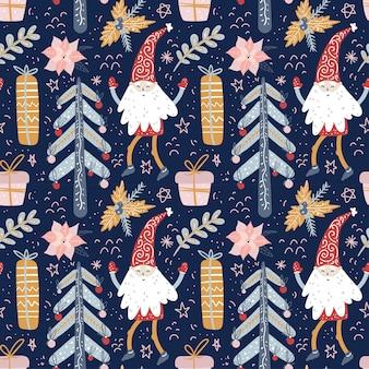 Kerstkabouters en kerstbomen naadloos patroon met scandinavische elvesnisse