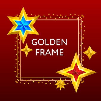 Kerstkader met gouden sterren en glitters