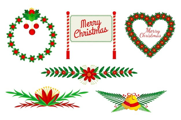 Kerstkaders en randen in plat ontwerp