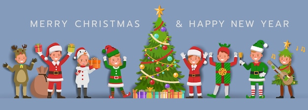 Kerstkarakter voor kaart, banner en achtergrond.