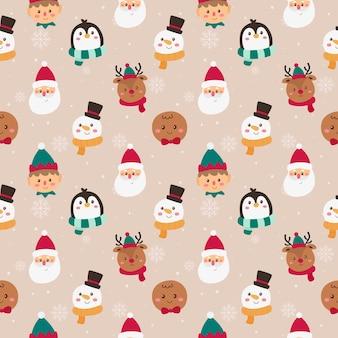 Kerstkarakters gezichten naadloos patroon op roze achtergrond