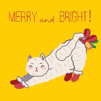 Kerstkat, merry christmas-illustraties van schattige kat met accessoires zoals een gebreide muts, trui, sjaal