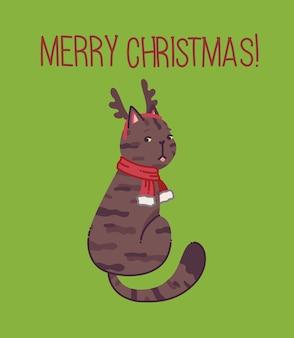 Kerstkat vrolijke kerstillustratie van schattige kat met accessoires zoals een trui met gebreide muts
