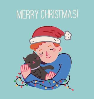 Kerstkat vrolijke kerstillustraties van jongen die katten knuffelt