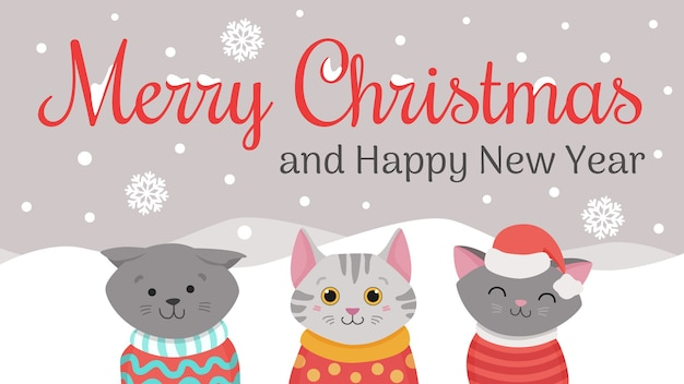 Kerstkatten, merry meow kerstillustraties van schattige katten met gebreide mutsen, truien en sjaal