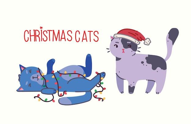 Kerstkatten vrolijke kerstillustratie van schattige katten met accessoires zoals een trui met gebreide muts