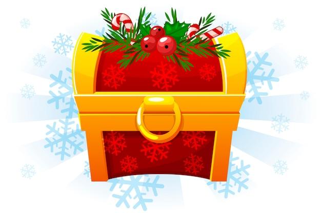 Kerstkist in cartoon-stijl. feestelijke kist. pictogram voor het 2d-spel. sneeuw achtergrond op een aparte laag