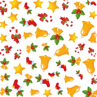Kerstklokken en bladeren decoratief patroon