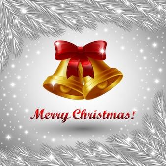 Kerstklokken en merry christmas-groet