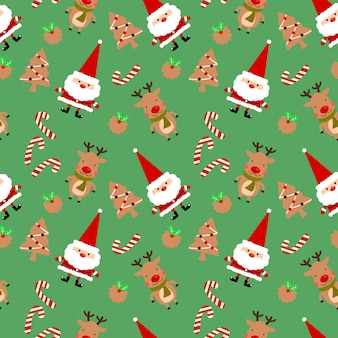 Kerstkoekjes en schattige kerstman naadloze patroon.