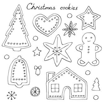 Kerstkoekjes met slagroom set, vector illustratie hand tekenen doodles