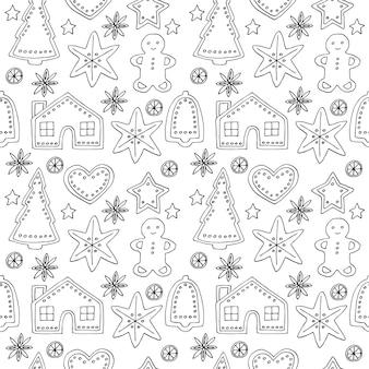 Kerstkoekjes naadloze patroon vector illustratie hand tekenen doodles