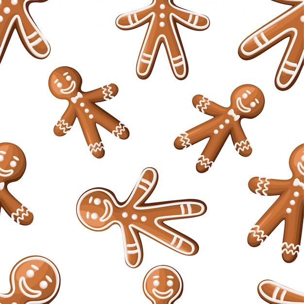 Kerstkoekjes. xmas peperkoek man cookie. op witte achtergrond, illustratie. naadloos.