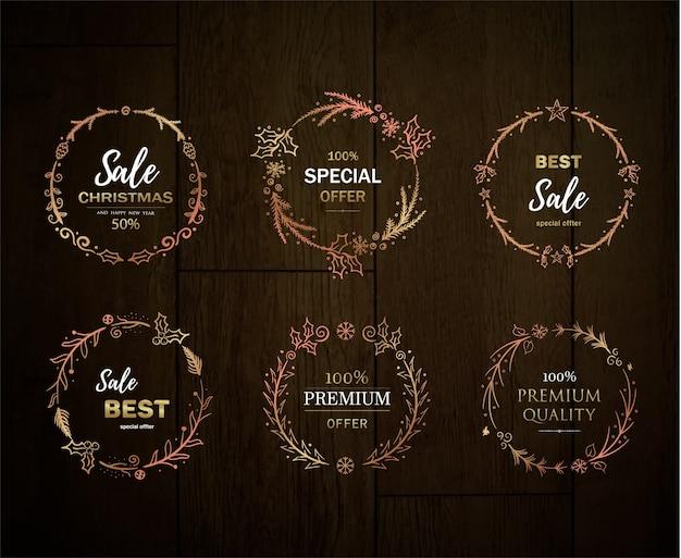 Kerstkorting gouden krans, assortiment gouden lijsten voor verkoop
