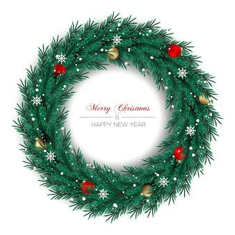 Kerstkrans decoratie dennenblad en kerst rode gouden kleur bal