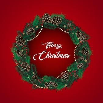 Kerstkrans gemaakt van dennentakken
