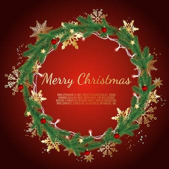 Kerstkrans gemaakt van pijnboomtakken versierde gouden sneeuwvlokken, gloeiende kerstverlichting en kerstballen,