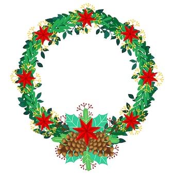 Kerstkrans in plat ontwerp