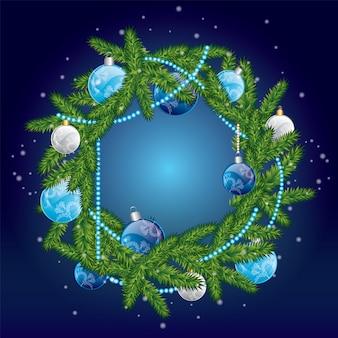 Kerstkrans met ballen. illustratie voor een kaart of poster.