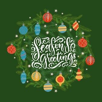 Kerstkrans met belettering citaat voor wenskaarten sjabloon seizoenen groeten tekst binnen dennenboom...