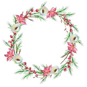 Kerstkrans met dennenboom, met winterrode en witte bloemen en met rode winterbessen. winterkrans geschilderd in aquarel