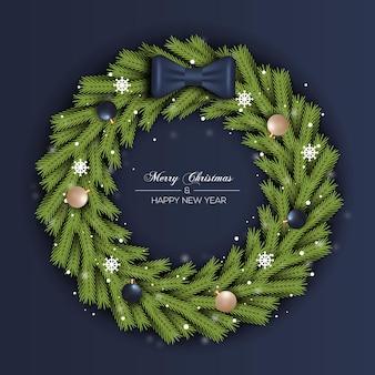 Kerstkrans met dennentak en verlichtingsconcept