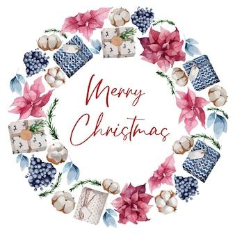Kerstkrans met dennentakken, bessen en katoen
