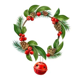 Kerstkrans met hangende rode jingle bell xmas
