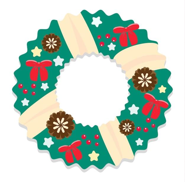 Kerstkrans met kegels en strikken in vlakke stijl