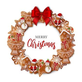 Kerstkrans met peperkoek en rode strik