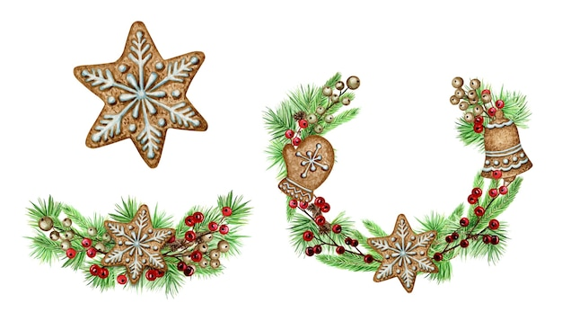 Kerstkrans peperkoekkoekjes wenskaart poster, banner concept. ronde frame van dennentakken kegels op witte achtergrond, nieuwjaar aquarel hand getekende illustratie met kopie ruimte voor tekst