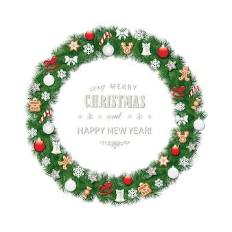 Kerstkrans ronde frame ingericht