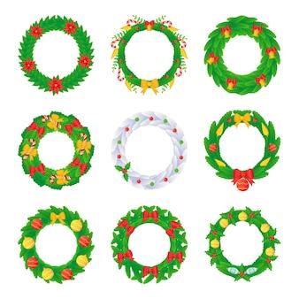 Kerstkrans set met ballen strikken klokken snoep en bloemen in cartoon-stijl