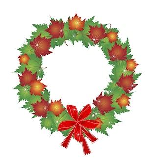 Kerstkrans van esdoornbladeren en rode strikken