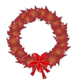 Kerstkrans van rode esdoornbladeren en strikken