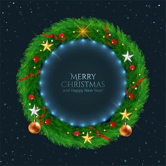 Kerstkrans versierd met sterren achtergrond