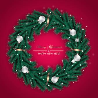 Kerstkransdecoratie dennenblad en kerstbal
