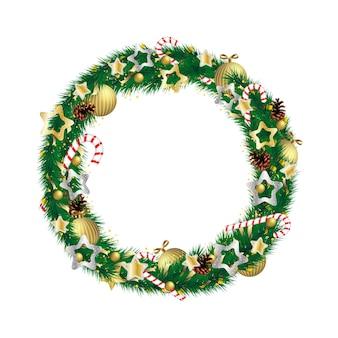 Kerstkransdecoratie met bal, dennenappel, zuurstok. wintervakantie groenblijvende sparren tak rozenhoedje rond sierlijke xmas en nieuwjaar symbool