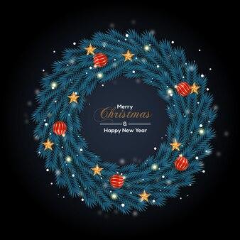 Kerstkransdecoratie met blauw kleurenconcept