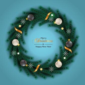 Kerstkransdecoratie met kerstbal in gouden stijl