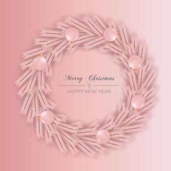 Kerstkransdecoratie met roze kleurenconcept