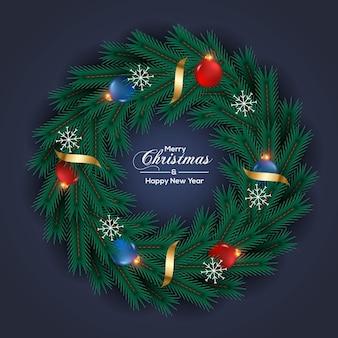 Kerstkransdecoratie met zwarte achtergrond en kerstbal
