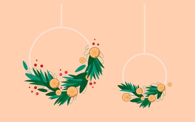 Kerstkransen set feestelijke hangende decoratie