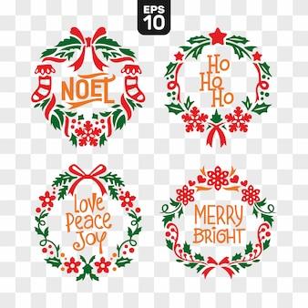 Kerstkransen snijden bestand collectie set met citaat