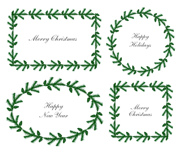Kerstkranskaders instellen verschillende vormen