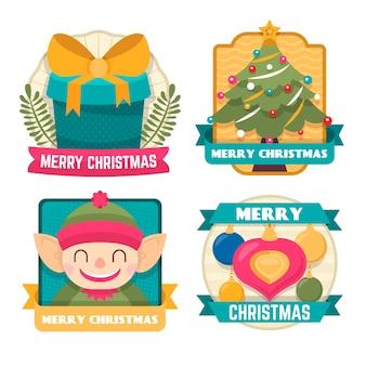 Kerstlabelcollectie in plat ontwerp