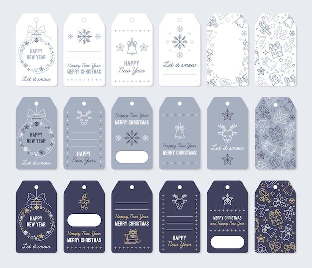 Kerstlabels en labels voor nieuwjaarsgeschenken. set kaarten om af te drukken met lineaire pictogrammen.
