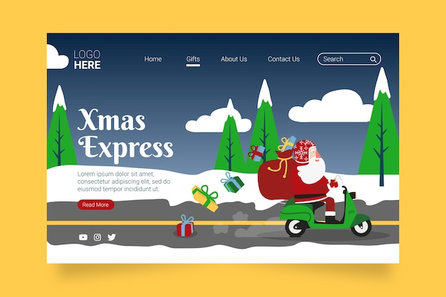 Kerstlandingspagina in plat ontwerp