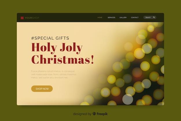Kerstlandingspagina met bokeh-effect