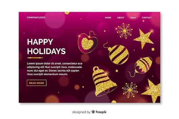 Kerstlandingspagina met gouden ornamenten